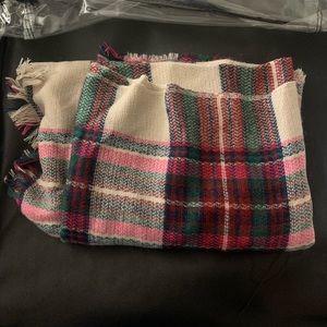 Plaid poncho scarf wrap
